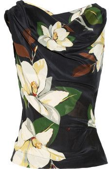 Vivienne Westwood Anglomania Alto magnolia-print sateen top    THE OUTNET