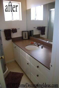 Learn how to paint countertops in a bathroom or kitchen with laminate countertop paint.