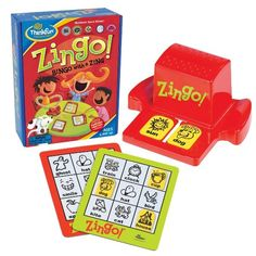 Bingo with a Zing. The best selling children's bingo ever! Zingo from Think Fun. Ages 4 to 8 years. Bingo Games, Word Games, Fun Games, Games To Play, Learning Express, Online Toy Stores, Sun Dogs, Playing Card Games, Toys