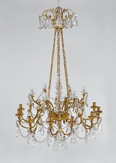 Eighteen-light chandelier Date: ca. 1790 Culture: French Medium: Rock crystal, gilt bronze
