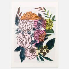 linoleum prints on paper by Atlanta based still life painter Gabriella Ibarra.