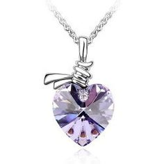 Xcrystal White Gold Plated Full Cut Purple Crystal Heart Necklace - Beyond the Rack Crystal Pendant, Crystal Necklace, Pendant Necklace, Ring Necklace, Heart Shaped Necklace, Heart Necklaces, Purple Necklace, Discount Jewelry, Fashion Jewelry Necklaces