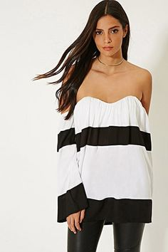 MLM Stripe Off-The-Shoulder Top