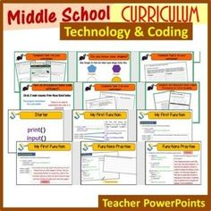 This beginner skills middle school technology and coding curriculum develops and enhances essential tech and coding skills for middle school students as well as providing them with a varied curriculum of learning for a whole year. Computer Lab, Computer Science, Science Resources, Learning Activities, Middle School Technology, Teaching Programs, I Can Statements, Python Programming, Classroom Displays