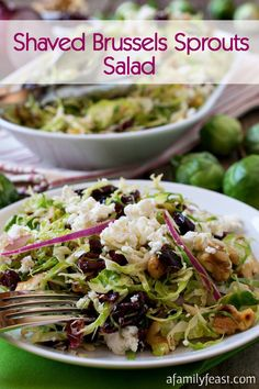 Shaved Brussels Sprout Salad - This easy salad is full of fantastic flavor! A delicious, light meal or side to grilled meats.