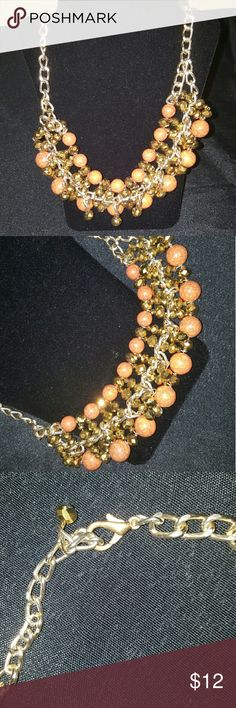 Beautiful Statement necklace Gold and Orange statement necklace with clasp closing. Jewelry Necklaces