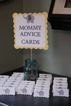 Elephant baby shower mommy advice cards and buffet by gigglebees babby shower ideas, baby shower Shower Party, Baby Shower Parties, Baby Shower Themes, Baby Shower Favors Boy, Baby Shower Ideas On A Budget, Baby Shower Ideas For Boys Decorations, Baby Shower Favours For Guests, Cute Baby Shower Ideas, Bridal Shower