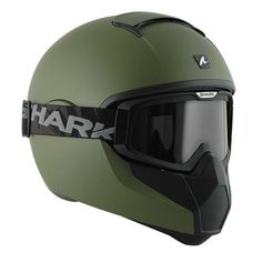 Shark is very much the helmet maker in vogue right now. Nobody is pushing the boundaries of helmet design like this super-stylish French manufacturer. Motorcycle Helmet Design, Cafe Racer Helmet, Biker Gear, Motorcycle Gear, Motorcycle Helmets, Casque Shark, Shark Helmets, Warrior Helmet, Vintage Helmet