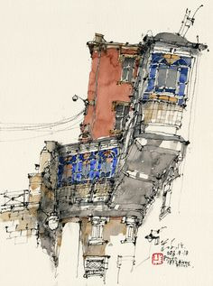Trip to Portugal - River House, Porto cm) Watercolor Sketch, Watercolor Illustration, Watercolor Paintings, Watercolor Architecture, Watercolor Landscape, Building Sketch, Landscape Drawings, Urban Sketchers, China Painting