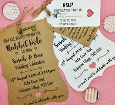 Alice In Wonderland Personalised Wedding Invite Bundle Day/ Evening  Reception