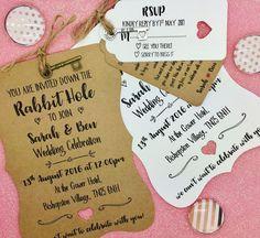 Alice in Wonderland Personalised Wedding Invite Day/ Evening Reception