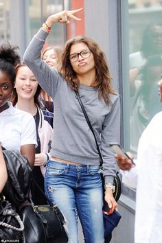 Natural beauty: The actress and singer went without make-up for her impromptu tour around London on Sunday