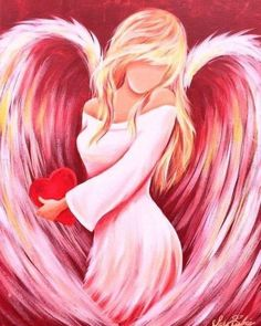 Cross Paintings, Easy Paintings, Paintings Of Angels, Angel Artwork, Stitch And Angel, Angel Drawing, I Believe In Angels, Angel Pictures, Angels In Heaven