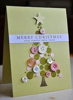 Button Greeting Cards Part 14 More Ideas for Handmade Homemade Card Making christmas tree card homemade - using buttons and cut out circle of coloured card/paper - homemade christmas card ideas craft upcycle Handmade Christmas Crafts, Homemade Christmas Cards, Christmas Tree Cards, Homemade Cards, Holiday Crafts, Christmas Diy, Christmas Buttons, Xmas Tree, Simple Christmas