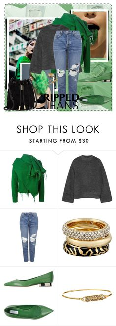 """""""Green with ripped jeans"""" by eiwa on Polyvore featuring Green Girls, Marques'Almeida, Elizabeth and James, Topshop, Michael Kors, MaxMara, Rebecca Minkoff, Vince Camuto and rippedjeans"""