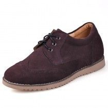 2014 Handmade Brown Suede taller casual shoes for men look height 6cm / 2.36inches