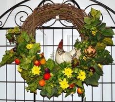 Kitchen Wreath Rooster Wreath Chicken Wreath by TheBloomingWreath, $55.99