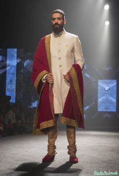 Shantanu & Nikhil - Men's Wear - Ivory Sherwani with Royal Red & Gold Dupatta - BMW India Bridal Fashion Week 2015 Indian Men Fashion, Indian Bridal Fashion, Bridal Fashion Week, India Fashion, Ethnic Fashion, Groom Fashion, Japan Fashion, Men's Fashion, Groom Wear