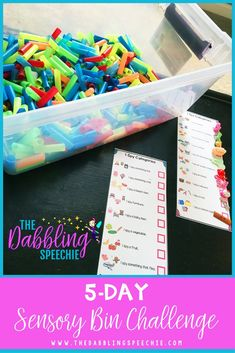 5 Day Sensory Bin Challenge - Come join speech therapists, counselors, teachers and special education teachers that want to learn how to make their own sensory bin for their speech room or classroom. It is a FREE challenge. Each day there is an easy step
