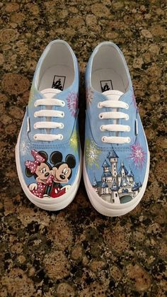 Custom Hand Painted Shoes Mickey Minnie Disney Castle Fireworks by GigisCustomShoes on Etsy.