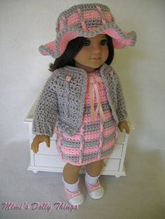Crocheted doll clothes for 18 inch dolls by MimisDollyThings, $23.00