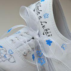 Svatební tenisky s modrou