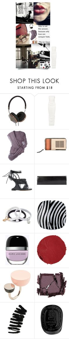 """""""The Singer"""" by sue-mes ❤ liked on Polyvore featuring Frends, Rick Owens, Marc Jacobs, Marc by Marc Jacobs, Surratt, Bobbi Brown Cosmetics and Diptyque"""