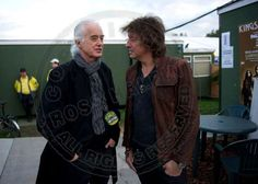 Jimmy Page and Richie Sambora backstage at the Kings of Leon concert, pht: Ross Halfin