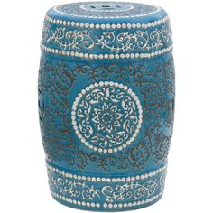"""18"""" Blue Medallion Porcelain Garden Stool ($124) ❤ liked on Polyvore featuring home, outdoors, patio furniture, outdoor stools, stool, porcelain garden stool, garden stool, blue end table, blue side table and outdoor patio furniture"""