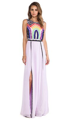 Mara Hoffman Rainbow Beaded Backless Gown in Lavender by @elenarudaya
