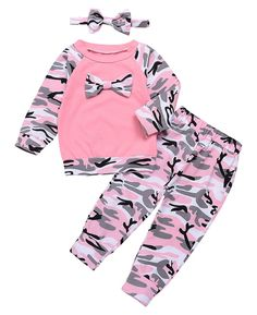 Happy Town Baby Boys Girls Family Clothes Long Sleeve Camouflage Romper Outfit Pants Set Headband Pink 612 Months *** Read more at the image link.-It is an affiliate link to Amazon. #BabyClothing
