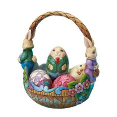 Jim Shore for Enesco Bunny Couple Easter Basket Holding 5 Decorated Easter Eggs, Set of 6 Individual Pieces : Easter Gift Easter Crafts For Kids, Easter Gift, Egg Decorating, Craft Stick Crafts, Easter Baskets, Easter Eggs, Easter Bunny, Christmas Ornaments, Gifts