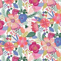 sarahgreendesigns -  I'll just leave this bright floral right here if anyone is currently dealing with bone-chilling weather and needs a reminder that spring comes next! #springwishing #spring #flowers #floral #wildflowers #spring2018 #spring2019 #surfacedesign #patterndesign #surfacedesigner #textiledesigner #pattern #design #surfacespatterns