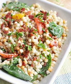 Tomato, Bacon, And Spinach Couscous Salad With Cucumber Dressing