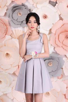 Pandora's Diamonds Dress In Dove Grey | LilyPirates