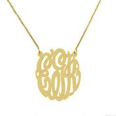 Monogram necklace personalize gold monogram by justforfundesign