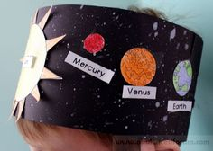 Solar System Hat Activity for Kindergarten Students create a starry backdrop and then glue on the planets to create their hat in this solar system activity for kindergarten.Solar System Hat Activity for Kindergarten; Have kids color the planets as they wi Kid Science, Kindergarten Science, Science Classroom, Kindergarten Projects, Kindergarten Themes, Solar System Activities, Solar System Crafts, Space Activities, Solar System Projects For Kids