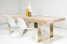 Fat Brass U-Leg Hickory Dining Table