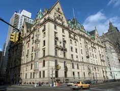 The landmark Dakota Apartments at the corner of New York's Central Park West and 72 streets on the upper West Side of Manhattan