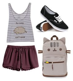 """Pusheen"" by jesemp on Polyvore featuring H&M and Vans"