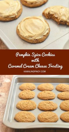 Pumpkin Spice Cookies with Caramel Cream Cheese Frosting are soft, moist and bursting with pumpkin flavor. Topped with caramel cream cheese frosting, they're the perfect Fall treat. #ad #BakingwithBetty
