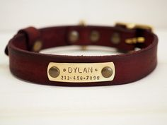 Red leather dog collar! An exclusive jewel for your precious best friend, with attention to every single detail and it is personalized with your pet's name and your phone number.