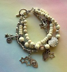 Winter White Agate and Tibetan Silver by MAGICALUNIVERSE on Etsy