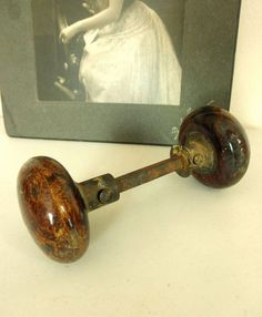 Antique Porcelain Door Knobs 4 brass oval antique drawer pulls, handles, colonial, patriotic