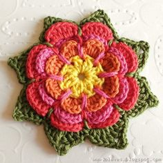 Beautiful Crochet Flower Tutorial from: Olav World