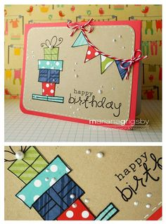 Scrapbook Birthday page decor Handmade Birthday Cards, Happy Birthday Cards, Birthday Presents, Tarjetas Diy, Karten Diy, Bday Cards, Card Tags, Paper Cards, Kids Cards