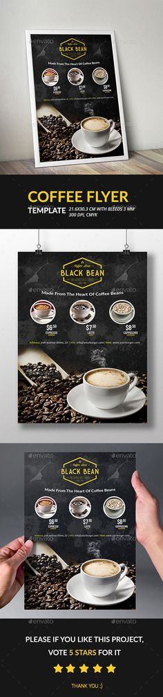 Coffee Flyer Template - #Restaurant #Flyers Download here: https://graphicriver.net/item/coffee-flyer-template/13191515?ref=alena994
