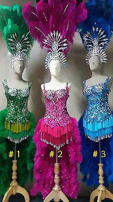 #2 Pink Feather Headdress&Costume set Burlesque Show girl Cabaret Drag Queen