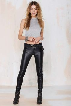 Shop pants, leggings, pants & more—Nasty Gal's got all the best new bottoms, especially for yours. Leather Trousers Outfit, Tight Leather Pants, Trouser Outfits, Leather Jeans, Black Leather, Lace Up Leggings, Shiny Leggings, Leggings Are Not Pants, Lace Pants