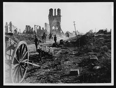 Destruction at Ypres, France, during World War I.
